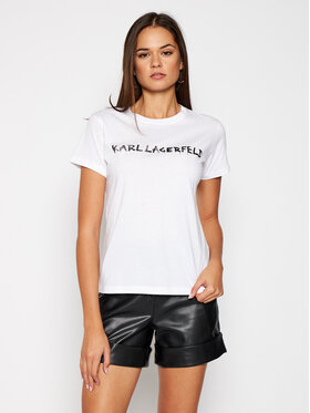 KARL LAGERFELD KARL LAGERFELD T-Shirt Graffiti Logo 206W1701 Bílá Regular Fit