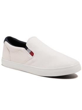 Tommy Hilfiger Tommy Hilfiger Sneakers aus Stoff Essential Slip On Chambray Vulc FM0FM03473 Weiß
