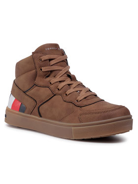 Tommy Hilfiger Tommy Hilfiger Sneakersy High Top Lace-Up Sneaker T3B4-30926-1030520 S Brązowy