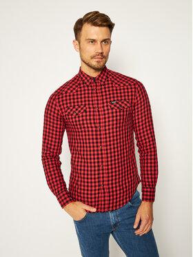 Wrangler Wrangler Camicia Ls Western W5F03OX3A Rosso Regular Fit