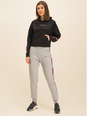 Tommy Sport Tommy Sport Bluză Crooped With Tape S10S100389 Negru Cropped Fit