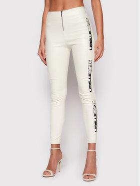 LaBellaMafia LaBellaMafia Spodnie z imitacji skóry 21768 Biały Slim Fit