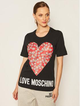 LOVE MOSCHINO LOVE MOSCHINO Póló W4F152LM 3876 Fekete Regular Fit