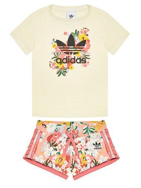 adidas adidas Komplet t-shirt i szorty sportowe HER Studio London Floral GN4212 Żółty Standard Fit