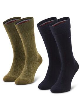 TOMMY HILFIGER TOMMY HILFIGER Sada 2 párů pánských vysokých ponožek 100001199 Zelená
