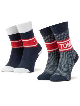 Tommy Hilfiger Tommy Hilfiger Súprava 2 párov vysokých dámskych ponožiek 100000809 Tmavomodrá
