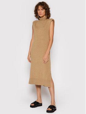 NA-KD NA-KD Úpletové šaty Padded High Neck 1100-004257 Béžová Regular Fit