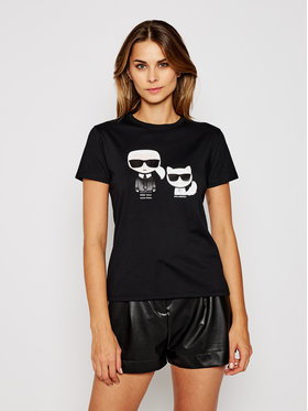 KARL LAGERFELD KARL LAGERFELD Тишърт Ikonik Karl & Choupette 205W1707 Черен Regular Fit