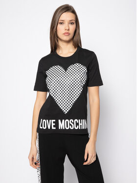 LOVE MOSCHINO LOVE MOSCHINO Marškinėliai W4F152CM 3876 Juoda Regular Fit