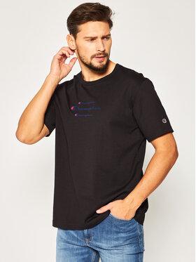 Champion Champion T-Shirt Triple Script 214330 Czarny Regular Fit