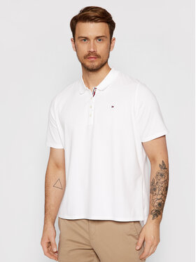Tommy Hilfiger Tommy Hilfiger Тениска с яка и копчета Essential WW0WW28555 Бял Regular Fit