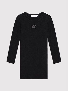 Calvin Klein Jeans Calvin Klein Jeans Každodenní šaty Fantasy Rib Ls Knit IG0IG01056 Černá Regular Fit