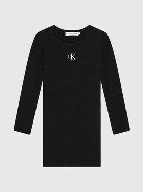 Calvin Klein Jeans Calvin Klein Jeans Kleid für den Alltag Fantasy Rib Ls Knit IG0IG01056 Schwarz Regular Fit