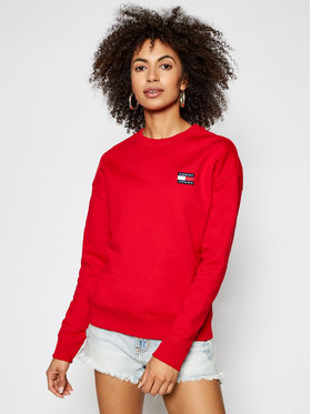 Tommy Jeans Tommy Jeans Bluza Badge DW0DW07786 Czerwony Relaxed Fit