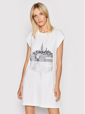 DKNY DKNY Kleid für den Alltag P1DTGB2M Weiß Relaxed Fit