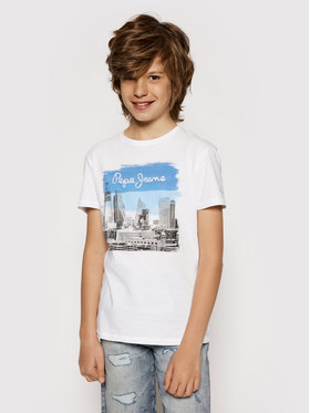 Pepe Jeans Pepe Jeans T-Shirt Joel PB503147 Biały Regular Fit