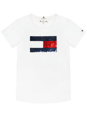 TOMMY HILFIGER TOMMY HILFIGER T-Shirt Flag Flip Sequins Tee KG0KG05251 M Bílá Regular Fit