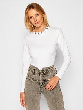 Calvin Klein Jeans Calvin Klein Jeans Bluzka Logo Trim J20J214994 Biały Regular Fit