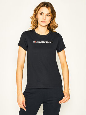 Tommy Sport Tommy Sport T-Shirt Performance Chest Logo S10S100453 Granatowy Regular Fit