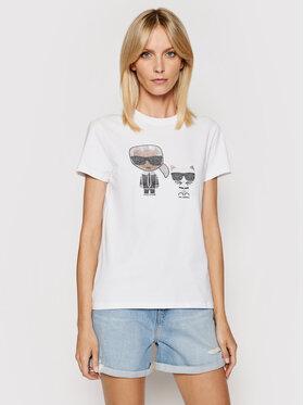 KARL LAGERFELD KARL LAGERFELD T-Shirt Ikonik Rhinestone 210W1725 Biały Regular Fit
