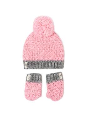 Ugg Ugg Sapka és kesztyű szett K Infant Knit Hat And Mitt Set 18802 Rózsaszín