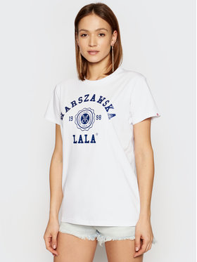 PLNY LALA PLNY LALA T-shirt Warszawska Lala PL-KO-CL-00223 Bijela Relaxed Fit