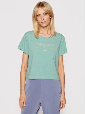 4F 4F T-Shirt H4L21-TSD013 Zielony Regular Fit