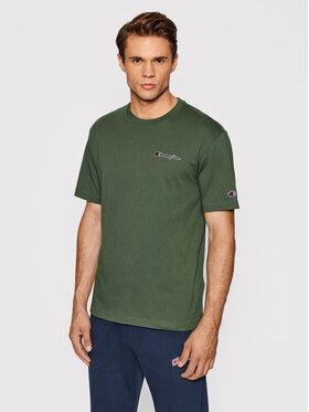 Champion Champion T-Shirt Organic Cotton Blend Small Script Logo 216480 Zelená Comfort Fit