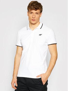 4F 4F Тениска с яка и копчета TSM009 Бял Regular Fit
