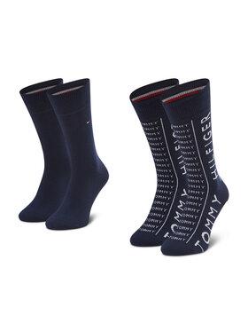 Tommy Hilfiger Tommy Hilfiger Sada 2 párů pánských vysokých ponožek 100002676 Tmavomodrá