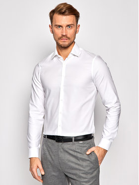 Calvin Klein Calvin Klein Marškiniai Structrure Easy Care K10K106237 Balta Slim Fit
