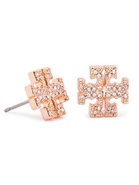 Tory Burch Tory Burch Fülbevaló Crystal Logo Stud Earring 53423 Rózsaszín