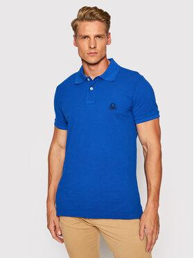 United Colors Of Benetton United Colors Of Benetton Тениска с яка и копчета 3089J3178 Син Slim Fit