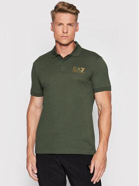 EA7 Emporio Armani EA7 Emporio Armani Тениска с яка и копчета 3KPF36 PJ5AZ 1862 Зелен Regular Fit