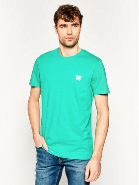 Wrangler Wrangler T-shirt Sign Off W7C07D382 Verde Regular Fit