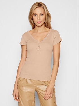 Guess Guess Blusa Henley W0GI62 R9I50 Beige Slim Fit