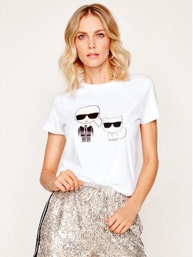 KARL LAGERFELD KARL LAGERFELD T-Shirt Ikonik Karl & Choupette 201W1705 Weiß Regular Fit