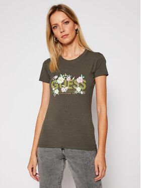 Guess Guess T-shirt Janel W0BI71 J1300 Verde Slim Fit