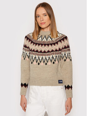 Superdry Superdry Sweter Classic Fairsle W6110328A Beżowy Regular Fit