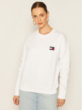 Tommy Jeans Tommy Jeans Mikina Badge Crew DW0DW07786 Bílá Loose Fit