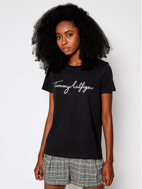 Tommy Hilfiger Tommy Hilfiger T-Shirt Heritage Crew Neck Graphic Tee WW0WW24967 Czarny Regular Fit