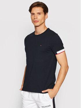 Tommy Hilfiger Tommy Hilfiger T-Shirt Jacquard Cuff MW0MW18725 Granatowy Regular Fit
