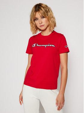 Champion Champion T-Shirt Script Logo Tee 113194 Rot Regular Fit