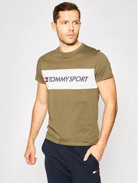 Tommy Sport Tommy Sport T-Shirt Colourblock Logo S20S200375 Zelená Regular Fit