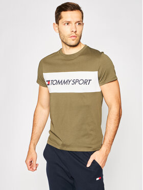Tommy Sport Tommy Sport T-Shirt Colourblock Logo S20S200375 Zielony Regular Fit