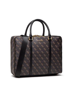 Guess Guess Чанта за лаптоп Vezzola (4G Print) HMVEZL P1314 Кафяв