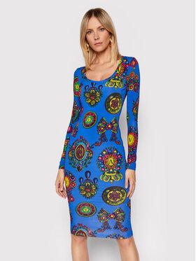 Versace Jeans Couture Versace Jeans Couture Kleid für den Alltag Fluido Print 71HAO920 Blau Slim Fit