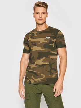 Alpha Industries Alpha Industries T-shirt Basic T Small Logo Camo 188505C Verde Regular Fit