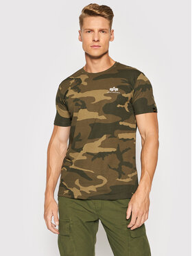 Alpha Industries Alpha Industries T-Shirt Basic T Small Logo Camo 188505C Zielony Regular Fit