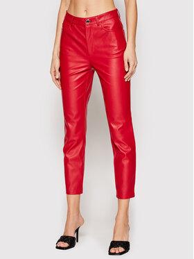 Pinko Pinko Кожени панталони Susan 14 PE 21 BLK01 1G15ZV 7105 Червен Slim Fit